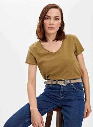 DeFacto V Yakalı Kısa Kollu T-Shirt